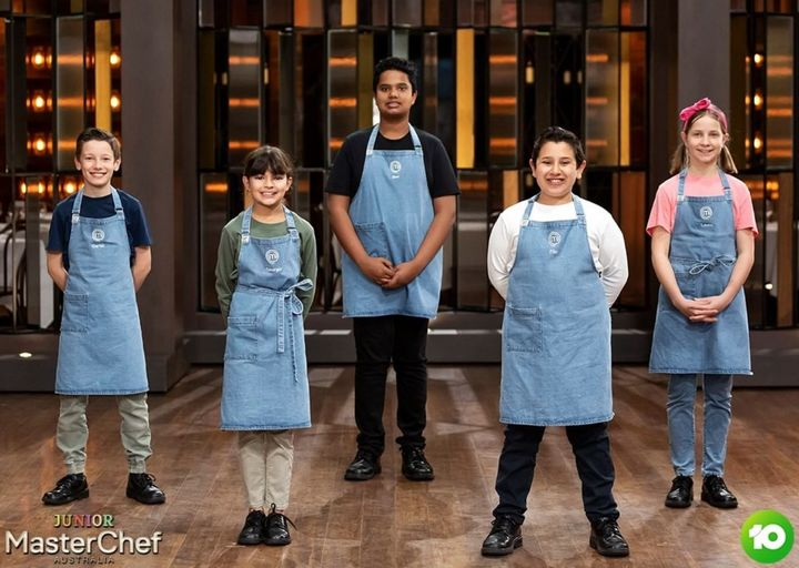 'Junior MasterChef Australia' contestants Carter, Georgia, Dev, Filo and Laura