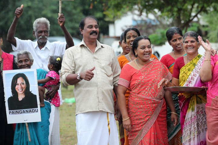 Indian villagers celebrate the victory of U.S. Vice President-elect Kamala Harris in Painganadu, a neighboring village of Thu