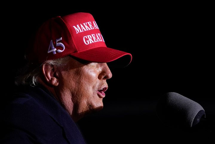 In this Nov. 2, 2020, file photo President Donald Trump speaks during a campaign rally at Kenosha Regional Airport, Monday, N