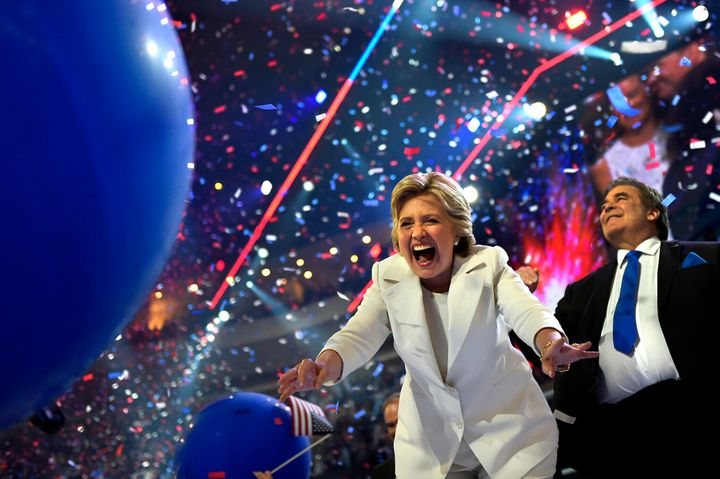 Hillary Clinton celebrates after accepting the presidential nomination at the Democratic National Convention in 2016.