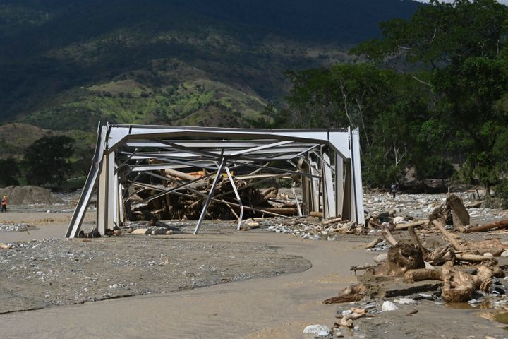 A bridge is seen destroyed due to the heavy rains caused by Hurricane Eta in the town of Gualan on Saturday.
