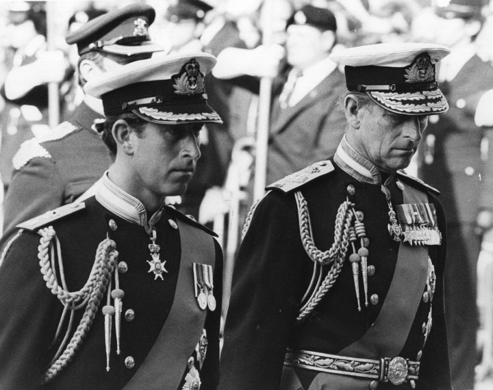 "Prince Charles, left, and Prince Philip at Louis ""Dickie"" Mountbatten's funeral on Sept. 9, 1979."