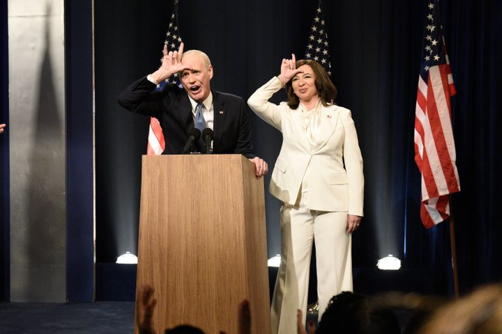 """Jim Carrey as Joe Biden and Maya Rudolph as Kamala Harris during the """"Biden Victory"""" Cold Open on the most recent episode of """"Saturday Night Live."""""""