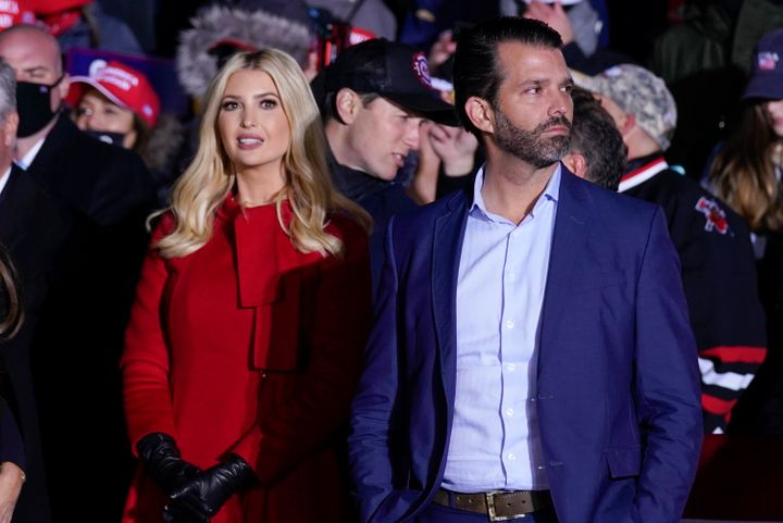 Ivanka Trump and Donald Trump Jr., listen as their father President Donald Trump speaks during a campaign rally in Kenosha, Wis., on Nov. 2, 2020.