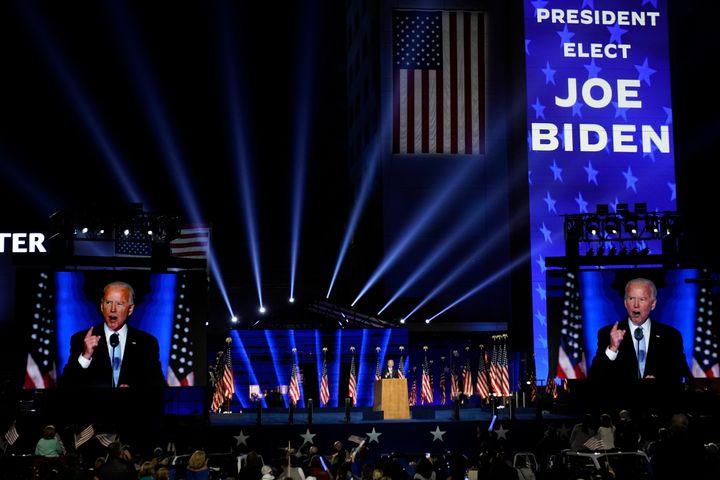 President-elect Joe Biden speaks Saturday, Nov. 7, 2020, in Wilmington, Del. (AP Photo/Andrew Harnik)