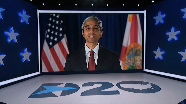 In this image from video, former U.S. Surgeon General Dr. Vivek Murthy speaks during the fourth night of the Democratic Natio