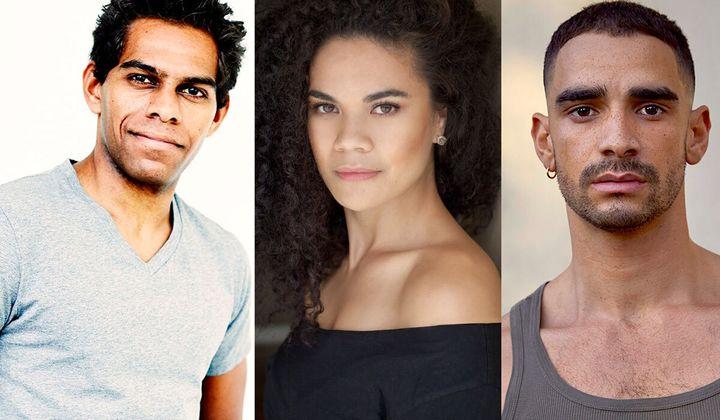 Shaka Cook, left, Akina Edmonds and Lyndon Watts are among the diverse cast of the Australian production of 'Hamilton'.