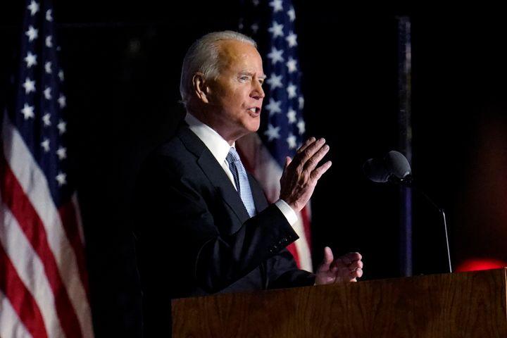 President-elect Joe Biden speaks in Wilmington, Del., Saturday, Nov. 7, 2020.
