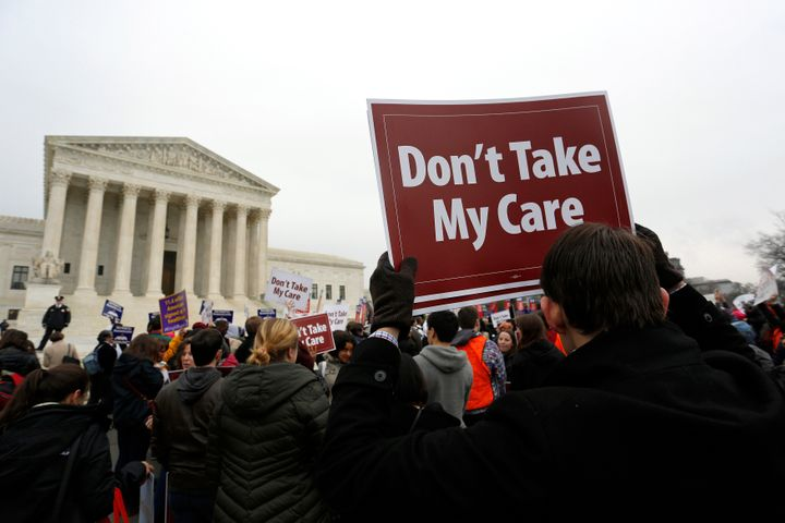 Demonstrators at the Supreme Court in 2015, which is the last time a lawsuit threatening the Affordable Care Act got a hearin