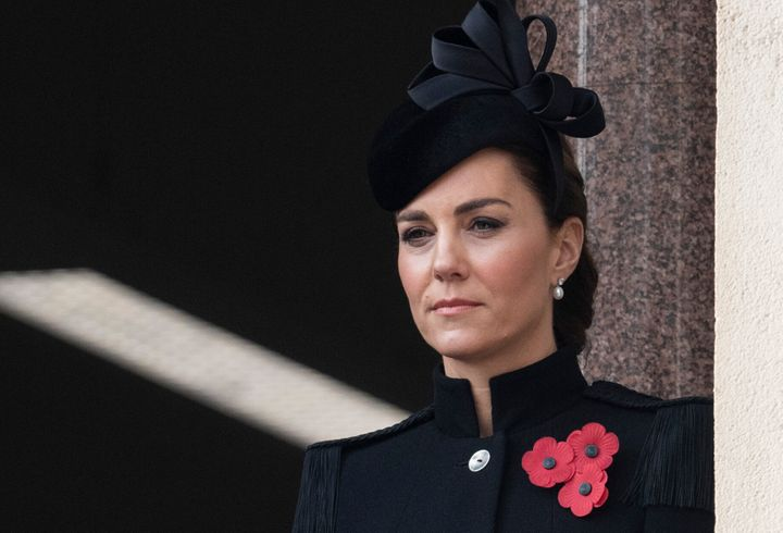 Catherine, Duchess of Cambridge, attends the annual Remembrance Sunday memorial at the Cenotaph in Westminster, England, on Sunday.