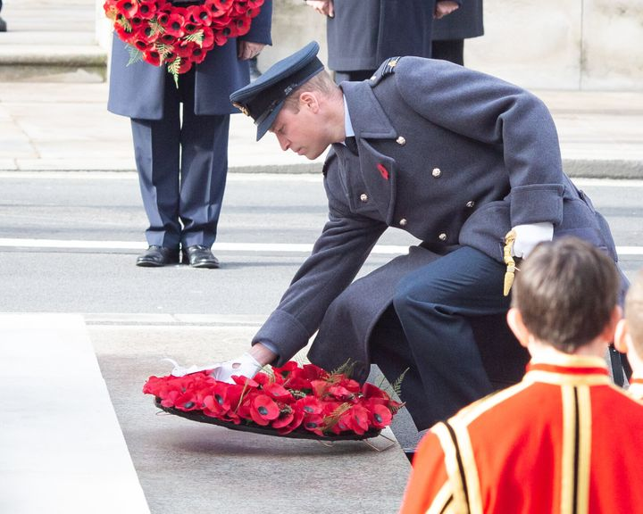 Prince William lays a wreath.