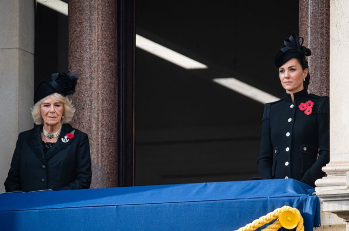Camilla, Duchess of Cornwall, and Catherine, Duchess of Cambridge are seen here during the National Service of Remembrance in the U.K. on Sunday.