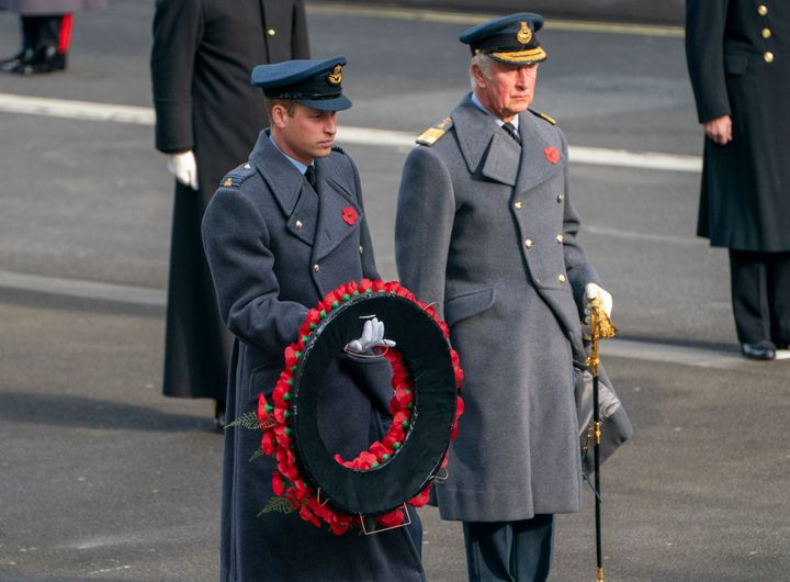 Prince William and Prince Charles at the National Service Of Remembrance at the Cenotaph in Westminster, England, on Sunday.