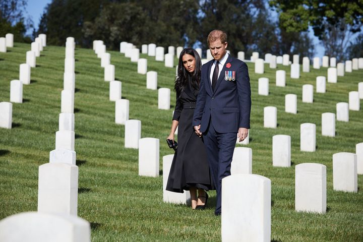Prince Harry and Meghan Markle mark Remembrance Sunday at Los Angeles National Cemetery.