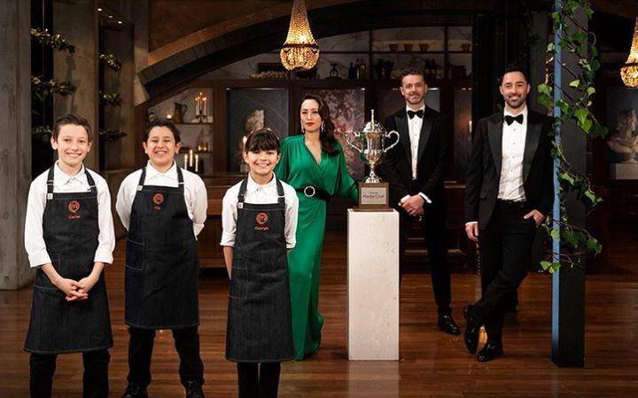 'Junior MasterChef Australia' finalists Carter, Filo and Georgia with judges Melissa Leong, Jock Zonfrillo and Andy Allen
