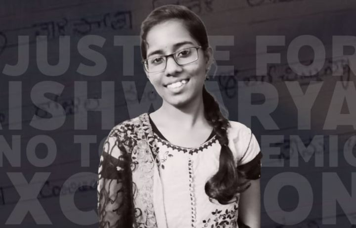 LSR student Aishwarya Reddy seen on a poster by SFI demanding release of scholarships.