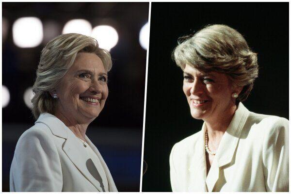 2016년 민주당 대통령 후보 지명을 받은 힐러리 클린턴(왼쪽)과 1984년 여성 최초로 미국 주요 정당의 부통령 후보로 지명돼 연설하는 제럴딘 페라로