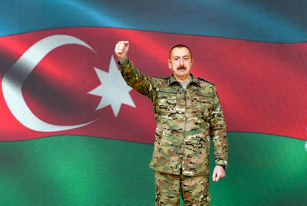 「シュシャ」を奪還したと演説をするアゼルバイジャンのイルハム・アリエフ大統領(アゼルバイジャン政府の提供写真)