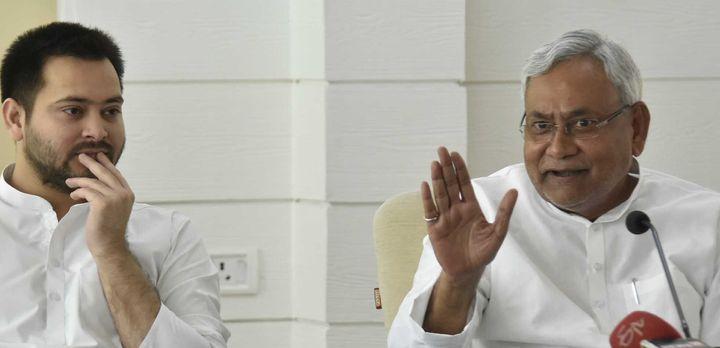A file photo of RJD leader Tejashwi Yadav (left) and Bihar Chief Minister Nitish Kumar.