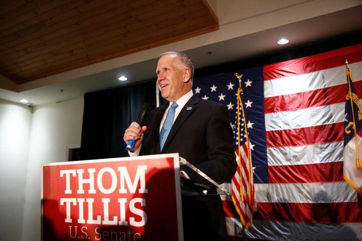 Sen. Thom Tillis (R-N.C.) celebrates his reelection against Democratic challenger Cal Cunningham on election night in Mooresv