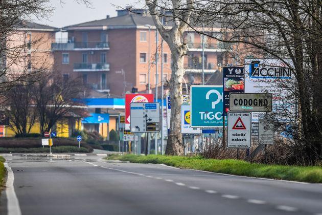 Une rue vide à Codogno, en Lombardie (Photo