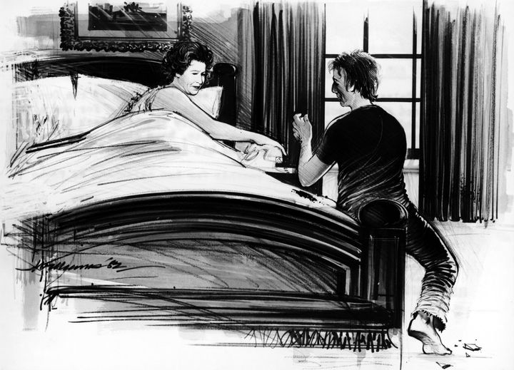 A newspaper ran this illustration of what it might have looked like when Michael Fagan broke into the Queen's bedroom in 1982.