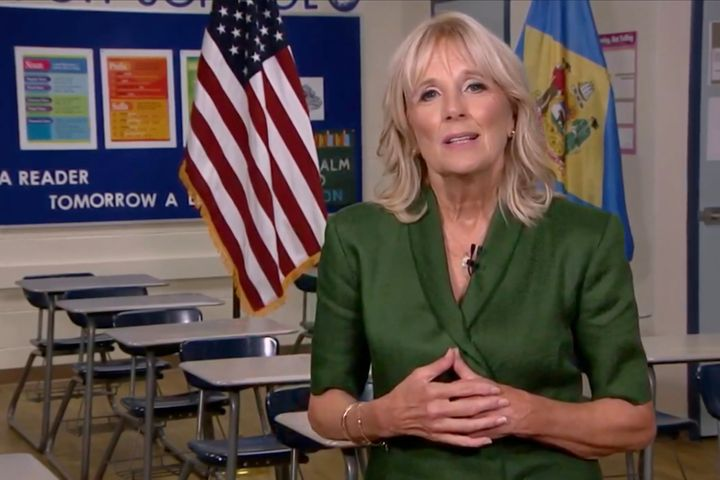 Jill Biden addresses the Democratic National Convention from a classroom during an Aug. 18, 2020, livestream.