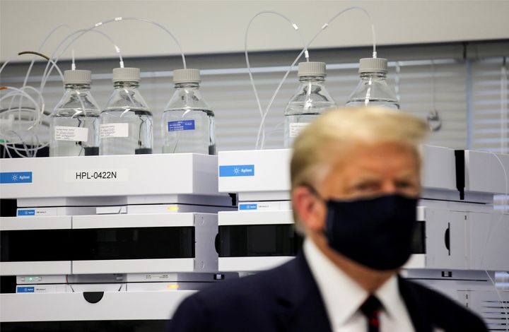 Donald Trump tours the Fujifilm Diosynth Biotechnologies' Innovation Center, a pharmaceutical manufacturing plant where compo