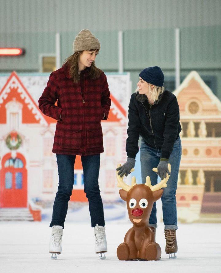 "Mackenzie Davis (left) and Kristen Stewart star in ""Happiest Season,"" due out Nov. 25 on Hulu."