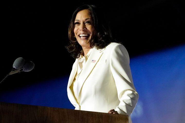 Vice President-elect Kamala Harris speaks Saturday, November 7, 2020, in Wilmington, Del.