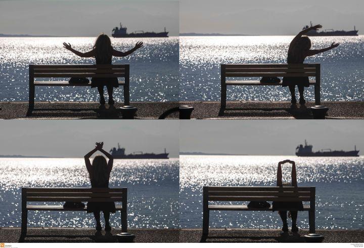 Lockdown στην Θεσσαλονίκη: Γυμναστική στην παραλία