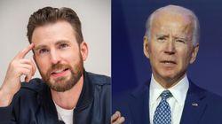 Chris Evans comparte una imagen de 'Vengadores' que demuestra que él y Joe Biden son casi la misma