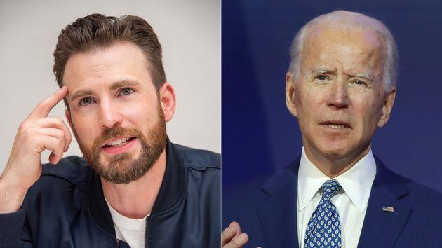 Chris Evans a la izquierda y Joe Biden, presidente electo de