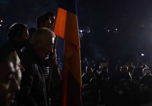 YEREVAN, ARMENIA - NOVEMBER 10, 2020: Demonstrators protesting against the end of war in Nagorno Karabakh...