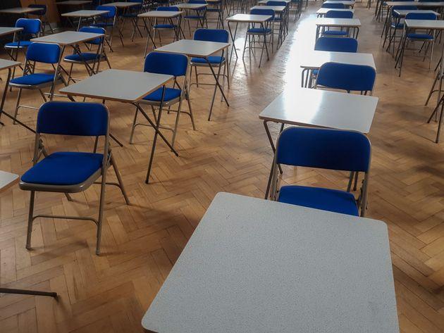 Exam desks in a exam