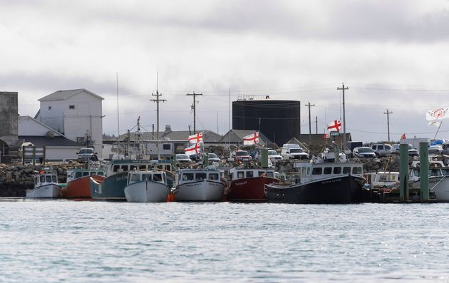 Mi'kmaq First Nations fishing boats are seen parked at the harbour in Saulnierville, N.S., Oct....