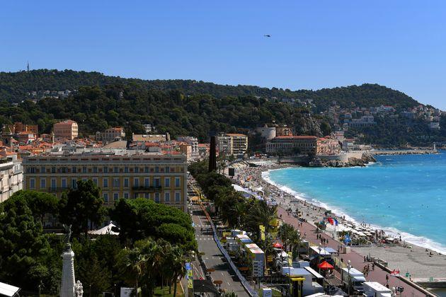 La Promenade des Anglais à Nice, le 30 aout 2020 à l'occasion du passage du Tour de...