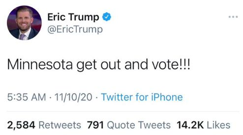 Eric Trump Becomes Twitter Laughingstock After Urging People To Vote... 1 Week