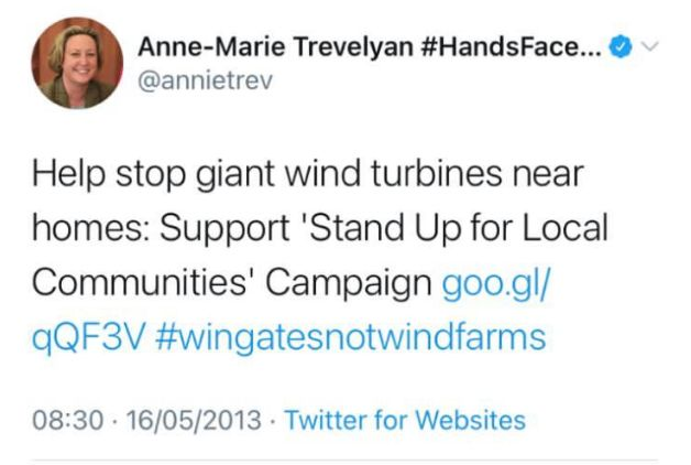 Anne-Marie Trevelyan previously opposed wind farms in her