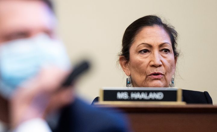 Rep. Deb Haaland attends a House Natural Resources Committee hearing on July 28, 2020.