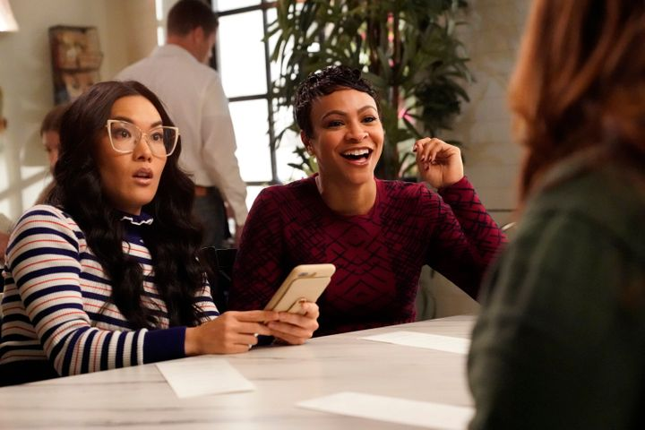 "ABC's ""American Housewife"" Season 4 episode, ""The Battle for Second Breakfast,"" with Ali Wong (left) and Carly Hughes."