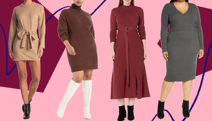 There are all sorts of sweater dresses to choose from down below, including those with turtlenecks to ones that are perfectly oversized.