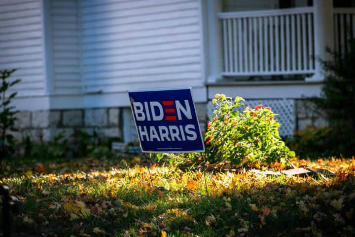A Biden/Harris sign adorned the yard of a home in Louisville, Kentucky, in mid-October. Although Kentucky remained reliably R
