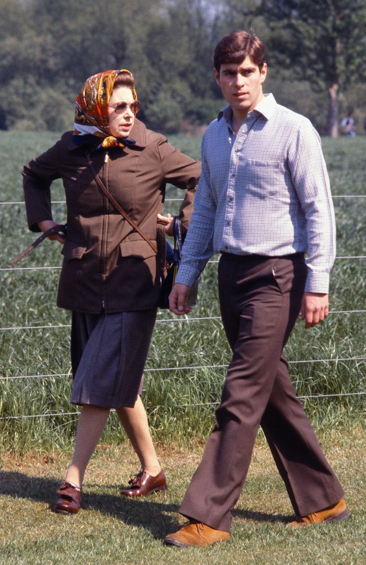Queen Elizabeth with Prince Andrew in 1980.