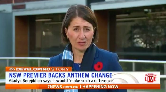 Gladys Berejiklian, the premier of NSW, has joined calls for altering the lyrics of Australia's national anthem.