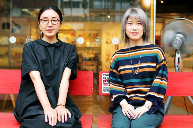 漫画家のまんきつさん(左)と筆者(姫野桂)