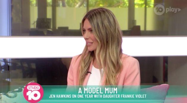 Former Miss Universe Jennifer Hawkins appeared on on 'Studio 10' on