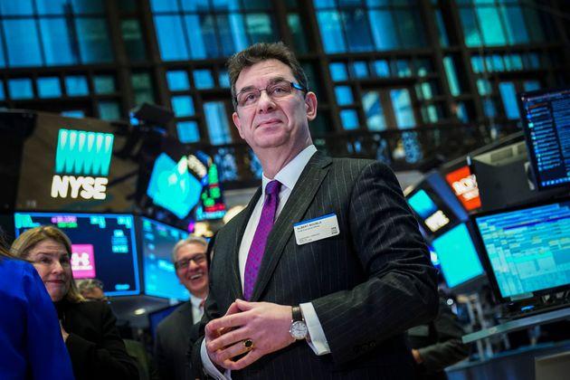 Albert Bourla, consejero delegado de Pfizer pharmaceutical company, en la Bolsa de Nueva York (NYSE)...