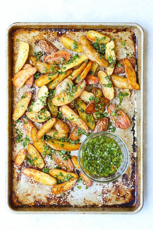 Baked Garlic Herb Potato Wedges from Damn Delicious