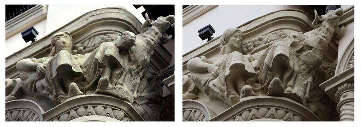 This combo pictures shows a sculpture before (right) and after being restored (left) on the exterior of an ornate office buil